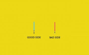 обоя рисованное, минимализм, синий, зло, добро, красный, надписи, стороны, мечи