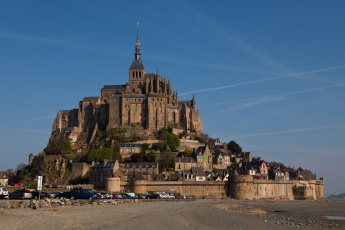 Картинка города крепость мон сен мишель франция остров