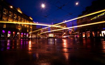 Картинка города огни ночного город ночь дорога