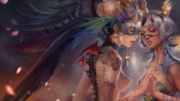 Картинка фэнтези существа тату кружево украшения маска девушки