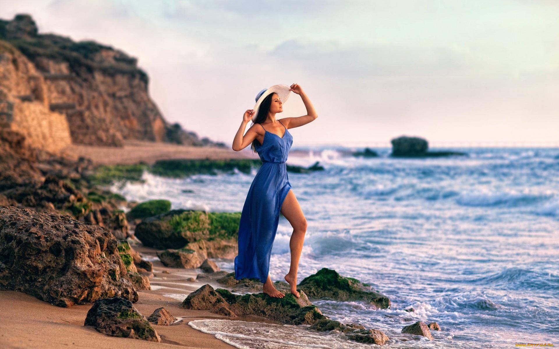 Красивыми букетами, картинки девушек на море в платье