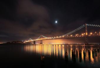 обоя города, - мосты, ночь, огни, река, san, francisco, сваи, south, beach, мост, usа
