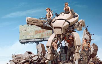 обоя фэнтези, роботы,  киборги,  механизмы, робот, девушки, руины
