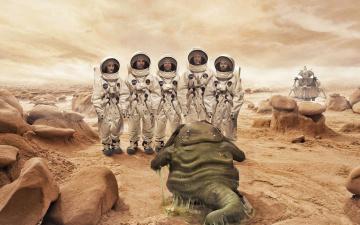 обоя фэнтези, существа, планета, инопланетянин, контакт, чудище, космонавты, астронавты