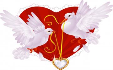 обоя праздничные, день святого валентина,  сердечки,  любовь, голуби