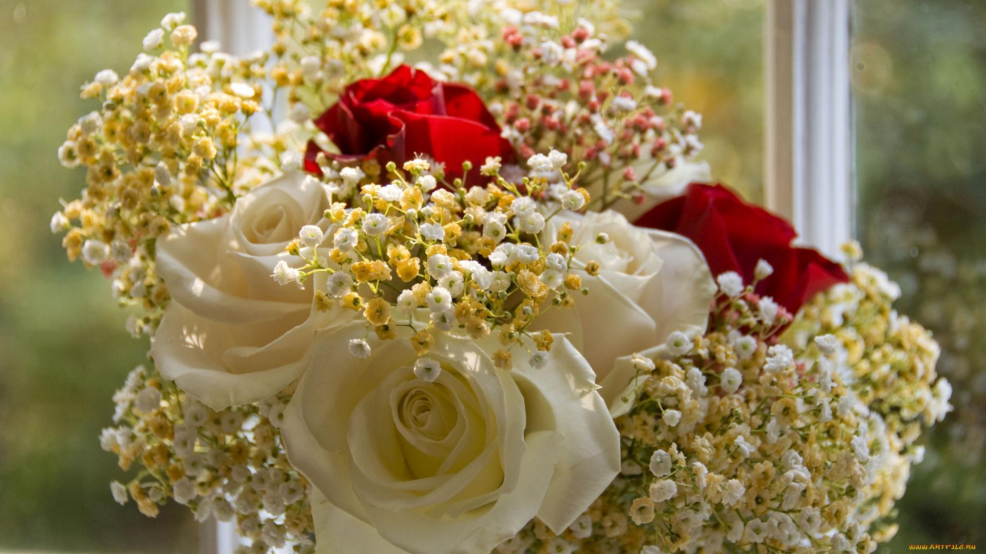 Картинки, открытки цветы розы с гипсофилами