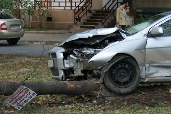 Картинка водитель не воспользовался услугами пути преодоления вот юмор приколы дерево табличка автомобили дом женщина дорога
