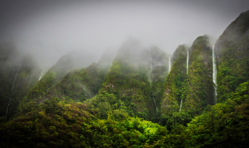 Картинка waterfalls in the jungle highlands oahu hawaii природа водопады джунгли водопад туман