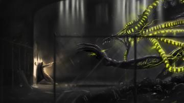 Картинка фэнтези существа монстр чудовище человек пистолет схватка