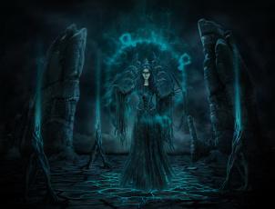 обоя фэнтези, демоны, магия, взгляд, фон, девушка