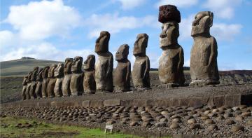 обоя города, - исторические,  архитектурные памятники, Чили, каменные, монолитные, статуи, моаи