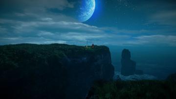 обоя фэнтези, иные миры,  иные времена, скалы, море, костер, палатка, ночь, луна
