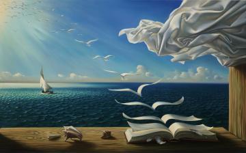 Картинка фэнтези другое книжка птицы сказки страницы полёт море