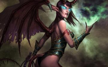 обоя фэнтези, демоны, демонесса, крылья, хвост, кнут