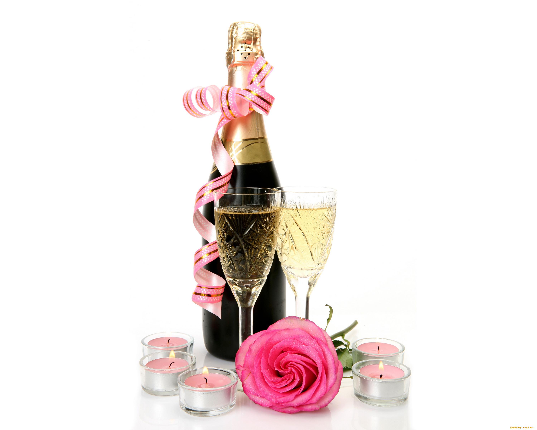 Открытки с розами и шампанским, надписью