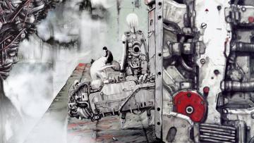 обоя аниме, blame, парень, киберпанк, art, manga, девушка