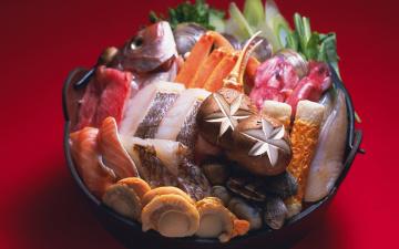 Картинка еда разное shellfish шампиньоны грибы mollusc fish раковины рыба морепродукты seafood японская кухня моллюски Япония japan food mushroom зелень