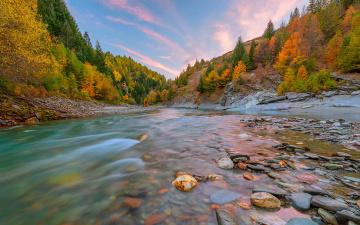 обои на рабочий стол осень природа река озеро лес № 241679 без смс