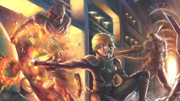 Картинка appleseed+ex+machina фэнтези красавицы+и+чудовища будущее девушка схватка астронавт монстр