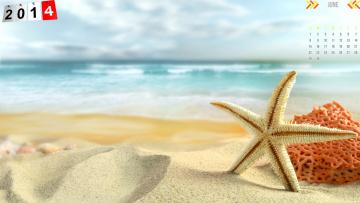 обоя календари, -другое, звезда, песок, пляж