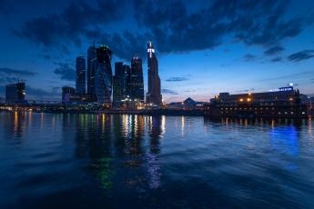 Картинка города москва+ россия огни ночь река дома москва небо