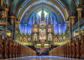обоя notre-dame basilica - montreal, интерьер, убранство,  роспись храма, храм
