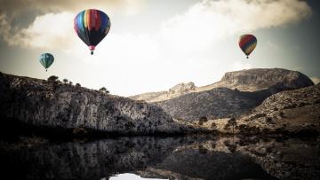 обоя авиация, воздушные шары, полет, горы, река