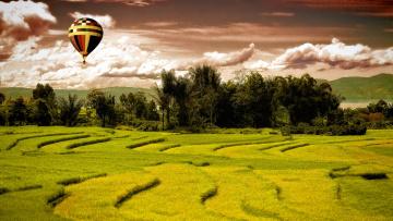 обоя авиация, воздушные шары, шар, облака, поле