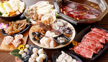 Картинка еда разное ассорти моллюски блюда мясо морепродукты грибы