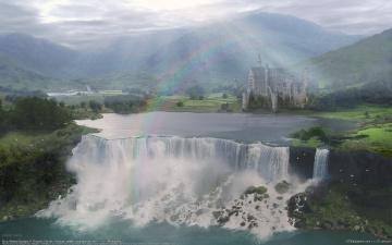 Картинка фэнтези пейзажи ricardo garces замок водопад радуга