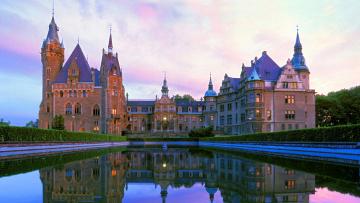 Картинка города замки+польши деревья пруд фасад башня дворец небо польша мошненский замок кусты