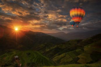 обоя авиация, воздушные шары, парение