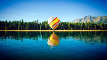 обоя авиация, воздушные шары, горы, отражение, лес, река