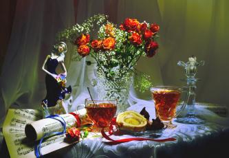 Картинка еда натюрморт чай ноты розы статуэтка