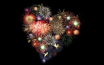Картинка праздничные день+святого+валентина +сердечки +любовь фейерверк салют сердечко ночь небо