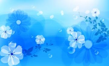 Картинка векторная+графика цветы+ flowers лепестки капли цветы голубые