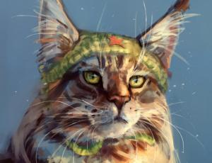 обоя рисованное, животные,  коты, голова