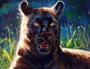 обоя рисованное, животные,  пантеры, профиль