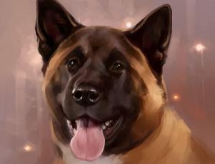 обоя рисованное, животные,  собаки, голова