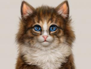 обоя рисованное, животные,  коты, очки