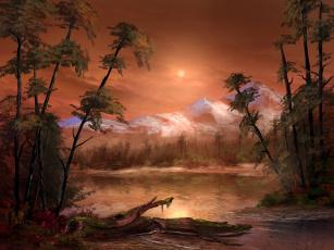 обоя рисованное, природа, водоем, деревья, горы