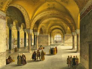 обоя рисованное, живопись, турция, интерьер, собор, святой, софии, стамбул, музей, айия-софья, мечеть