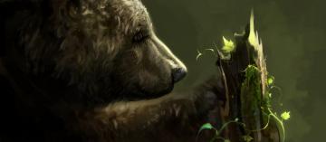 обоя рисованное, животные,  медведи, растение, анфас