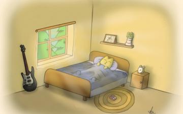 обоя рисованное, животные,  коты, гитара, окно, тумбочка, цветок, коврик, кровать