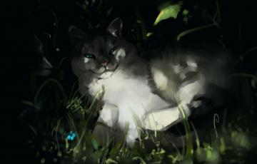 обоя рисованное, животные,  коты, растение
