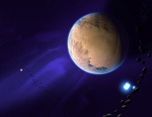 Картинка космос арт астероиды планета звезды