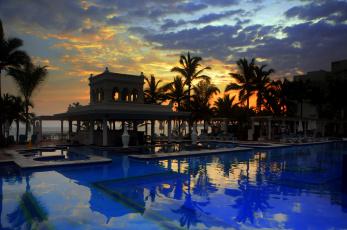 Картинка интерьер бассейны открытые площадки пуэрто-вальярта мексика тихий океан закат тропики пальмы отдых