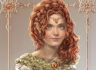 Картинка рисованные люди портрет sillselly девушка платье взгляд волнистые волосы