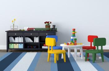обоя интерьер, детская комната, стиль, мебель, игрушки, детская