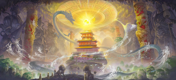 обоя фэнтези, призраки, дух, пещера, храм, lei, sheng, арт, статуи, колонны, сфера, магия, драконы, азия